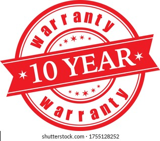 10 Year  warranty stamp vector logo images, Warranty vector stock photos, Warranty vector illustration of logo