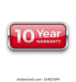 10 year warranty vector badge, silver