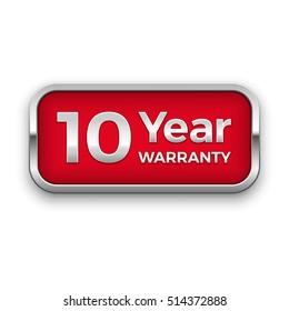 10 year warranty vector badge, silver