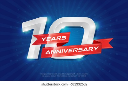 10 years anniversary background with red ribbon and star on blue background. celebrating logotype, poster or brochure template. Vector illustration