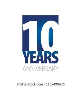 10 Years Anniversary blue white logo icon banner