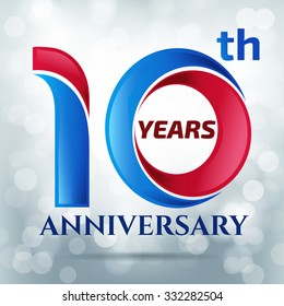 10 years anniversary  with bokeh lights in background.-vector illustration