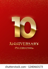 10 years anniversary celebrating design with golden color isolated on red background. Vector design illustrating
