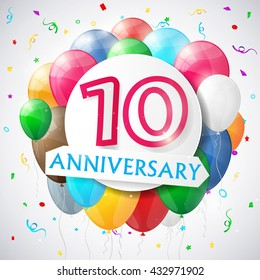 10 years anniversary celebration background with balloons. Vector illustration.