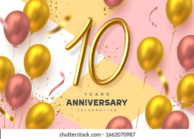 10 years anniversary celebration banner. 3d handwritten golden metallic number 10 and glossy balloons with confetti. Vector realistic template.