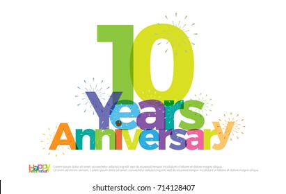10 years anniversary celebration colorful logo with fireworks on white background. 10th anniversary logotype template design for banner, poster, card vector illustrator