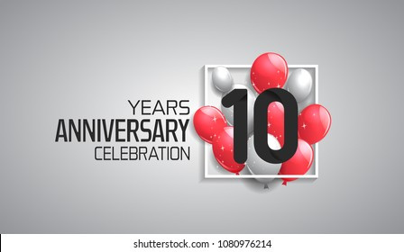 10 years anniversary celebration for company with balloons in square isolated on white background