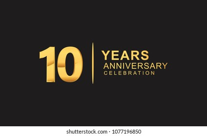 10 years anniversary celebration design with golden color isolated on black background for celebration event