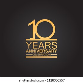 10 years anniversary celebration design with thin number shape golden color for special celebration event
