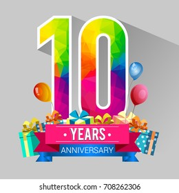 10 Years Anniversary Celebration Design, with gift box and balloons, red ribbon, Colorful polygonal logotype, Vector template elements for your birthday party.
