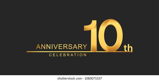 10 years anniversary celebration with elegant golden color isolated on black background, design for anniversary celebration.