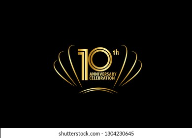 10 years anniversary celebration golden logo with black background
