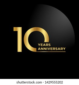 10 years Anniversary Celebration with golden text, Vector template.