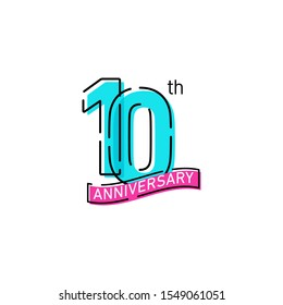 10 Years Anniversary Celebration Icon Vector Logo Design Template
