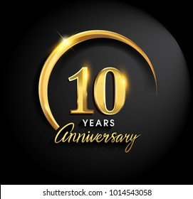 10 years anniversary celebration. Anniversary logo with ring and elegance golden color isolated on black background, vector design for celebration, invitation card, and greeting card