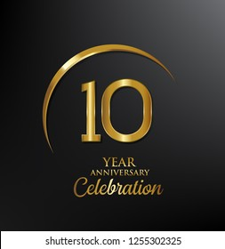 10 years anniversary celebration. Anniversary logo with swoosh and elegance golden color isolated on black background, vector design for celebration, invitation card, and greeting card