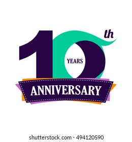 10 years anniversary celebration logo design with decorative ribbon or banner. Happy birthday design of 10th years anniversary celebration. Number 10 template logo with banner / ribbon. 10 years old.