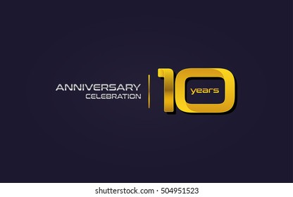10 Years Anniversary Celebration Logo, Yellow, Isolated on Dark Purple Background
