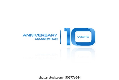 10 years anniversary celebration logo, blue, isolated on white background