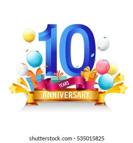10 Years Anniversary celebration logo, birthday vector illustration, with gift box and balloons, colorful polygonal design.