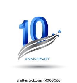 10 years anniversary. celebration logo design with swoosh and star
