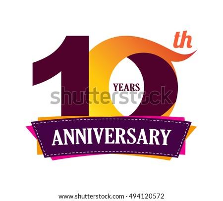 10 years anniversary celebration logo design stock vector royalty