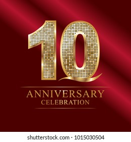 10 years anniversary celebration logotype red background.