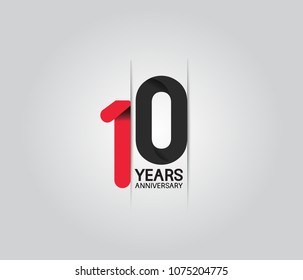 10 years anniversary celebration logotype. anniversary logo with red and black color isolated on white background, vector design for celebration, invitation card, and greeting card