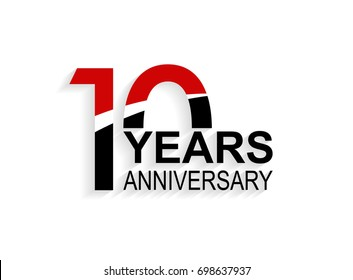 10 years anniversary celebration logotype. anniversary logo with red, white and black color isolated on white background, vector design for celebration, invitation card, and greeting card