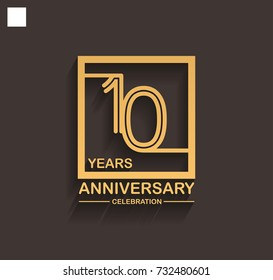 10 years anniversary celebration logotype style linked line in the square with golden color. vector illustration isolated on dark background