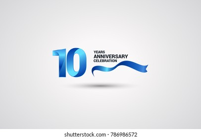 10 Years Anniversary celebration logotype colored with shiny blue, using ribbon and isolated on white background