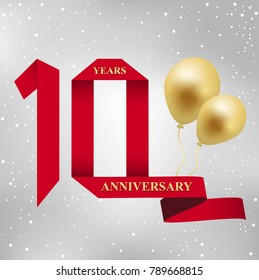 10 years anniversary celebration logotype.