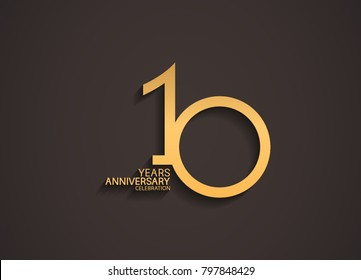10 years anniversary celebration logotype with elegant gold color for celebration