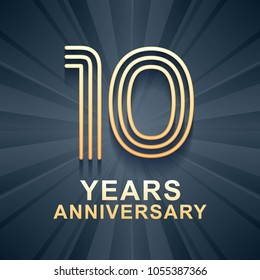 10 years anniversary celebration vector icon, logo. Template design element with gold color age for 10th anniversary card