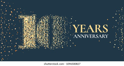 10 years anniversary celebration vector icon, logo. Template horizontal design element with golden glitter stamp for 10th anniversary greeting card