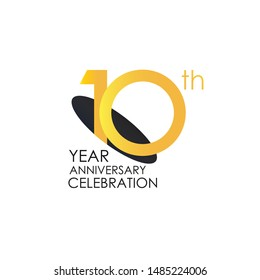 10 years anniversary celebration Yellow Color Design logotype. anniversary logo isolated on White background, vector Horizontal number design for celebration, invitation card, and greeting card-Vector