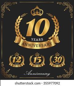 10 Years Anniversary decorative logo. Vector illustration