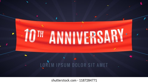 10 years anniversary design celebration. Red flag anniversary bithday decoration party event 10th.