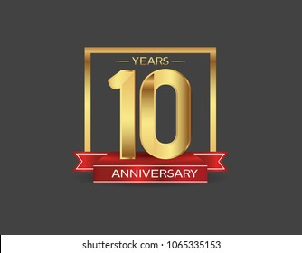 10 years anniversary design logotype golden color with square and red ribbon for celebration event isolated on black background