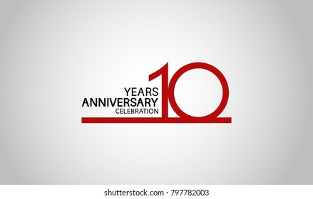 10 years anniversary design with simple line red color isolated on white background for celebration
