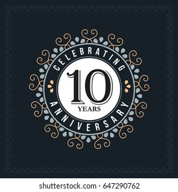 10 years anniversary design template. Vector and illustration. celebration anniversary logo. classic, vintage style