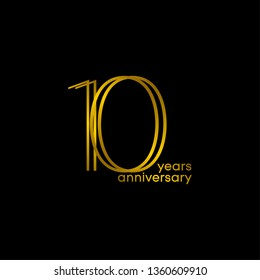 10 Years Anniversary Gold Black Vector Template Design Illustration