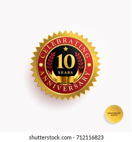 10 Years anniversary Gold and Red badge logo. Vector illustration eps.10