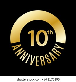 10 years anniversary icon. 10th celebrating and birthday golden logo. Vector illustration.