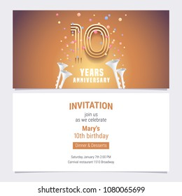 10 years anniversary invitation vector illustration. Graphic design element with golden number and confetti for 10th birthday card, party invite