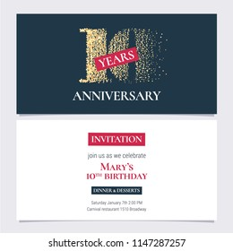 10 years anniversary invitation vector illustration. Design template with golden number for 10th anniversary party or dinner invite with body copy