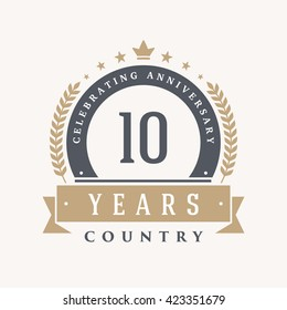 10 years Anniversary Label, Sticker or Badge on Background. Vector - illustration