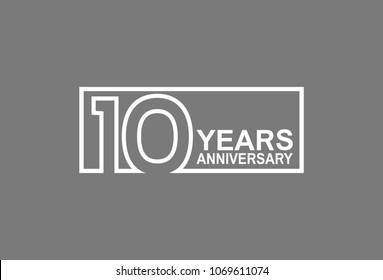 10 years anniversary line style white color in square isolated on gray color for celebration