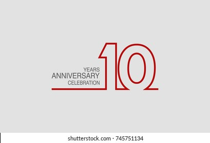 10 years anniversary linked logotype with red color isolated on white background for company celebration event