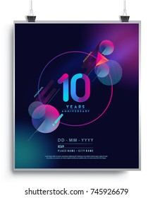 10 Years Anniversary Logo with Colorful Galactic background, Vector Design Template Elements for Invitation Card and Poster Your Birthday Celebration.